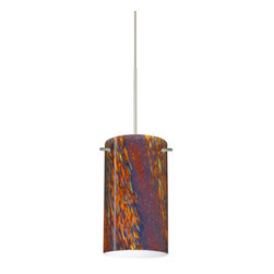 Besa Lighting - Besa Lighting 1XP-4404CE Stilo 1 Light Halogen Cord-Hung Mini Pendant - Stilo 7 is a classic open-ended cylinder of handcrafted glass, a shape that will stand the test of time. Our Ceylon glass is an inspiring varicolored glass with a look reminiscent to natural quartz, with a glossy polished surface. Blues and reds dominate when unlit, but turn the light on and the earth-tones take over. This decor is created by rolling molten glass in small bits of various colors called frit along with various glass powders. The result is a multi-layered blown glass, where frit color is nestled between an opal inner layer and a clear matte outer layer. This blown glass is handcrafted by a skilled artisan, utilizing century-old techniques passed down from generation to generation. Each piece of this decor has its own unique artistic nature that can be individually appreciated. The 12V cord pendant fixture is equipped with a 10' coaxial cordset with teflon jacket, quick connect jack and a low profile flat quick connect monopoint canopy.Features: