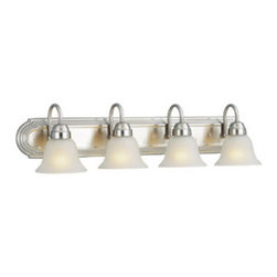 DHI-Corp - Allante 4-Light Vanity, Satin Nickel - The Design House 506592 Allante 4-Light Vanity Light has an elegant finish to illuminate your home. Constructed of formed steel and finished in satin nickel, the frosted glass and curved construction will add a touch of style to any room. This fixture uses (4) 60-watt medium base incandescent bulbs. With a versatile design, this fixture can easily be paired with vintage or modern furnishings. This wall mount's petite design mounts seamlessly to the wall without a chain or visible wires. Measuring 7.5-inches (H) by 30-inches (W), this 8-pound wall mount can be mounted facing up or down depending on location and preference. This wall mount is UL listed, UL approved for damp areas and is rated for 120-volts. Coordinate your home with the rest of the Allante collection which features a beautiful matching pendant, chandelier, vanity and ceiling mount. The Design House 506592 Allante 4-Light Vanity Light comes with a 10-year limited warranty that protects against defects in materials and workmanship. Design House offers products in multiple home decor categories including lighting, ceiling fans, hardware and plumbing products. With years of hands-on experience, Design House understands every aspect of the home decor industry, and devotes itself to providing quality products across the home decor spectrum. Providing value to their customers, Design House uses industry leading merchandising solutions and innovative programs. Design House is committed to providing high quality products for your home improvement projects.