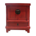 Golden Lotus - Red Lacquer Round Hardware End Table Nightstand - This is a modern end table nightstand with oriental accent and rustic red color lacquer surface.