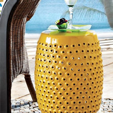 Modern Accent And Garden Stools Yellow Ceramic Stool