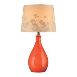Lite Source - Lite Source LS-21489ORN Edaline 1 Light Table Lamps in Orange Ceramic - Table Lamp, Orn Ceramic Body/Silhouette Paper, E27 Cfl 13W