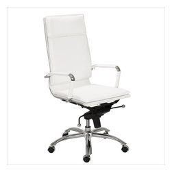 Eurostyle - Eurostyle Gunar Pro High Back Office Chair in White Leatherette - Office Chair in White Leatherette belongs to Gunar Pro High Back Collection by Eurostyle If you're headed for the corner office, you're going to need one of these. The high back support adds obvious authority to any meeting. The reliable tilt mechanism invites you to lean back and survey all that you've accomplished. Office Chair (1)