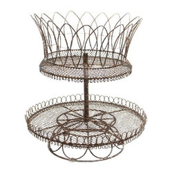 Aidan Gray - Rusted French Lace Basket - The delicacy of lace, the hardiness of metal — a perfect combination for your outdoor decor. This wonderfully wrought double decker basket boasts a hand-aged rust finish to bring old-world charm to your garden.