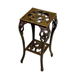 Oakland Living - Table-Style Plant Stand w Hummingbird Motif i - Finish: Antique BronzePictured in Antique Bronze. Assembled Depth (in.) : 14 in D x 14 in. W x 28 in. H. Item Weight: 38 lbs.. Durable - even in harsh weather. Relatively light weight - making it easy to move. Strong and durable - even in heavy winds. Superior craftsmanship and intricate designs. Easy cleaning. Cast aluminum construction. Brass and stainless steel assembly hardware ensures that each product will be sturdy, durable and secure for years. High-grade polyester powder coat finish. Brass and stainless steel hardware ensures sturdiness, durability and security for years. Long lasting, beautiful finish maintains appearance for years to come. Minimal maintenance. Electrostatic application of the powder coat insures a smooth, even finish. Quick and easy assembly assured with step-by-step assembly instructions included. Double QC quality program in which each piece is assembled prior to being unassembled and packaged assures that all parts are present and that the product will assemble easily. Rust-free cast aluminum construction
