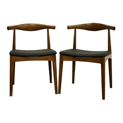 Wholesale Interiors - Baxton Studio Sonore Mid-Century Style Dining - Set of 2. Modern dining chair with mid-century flair. Solid wood frame. Polyurethane foam seat padding. Black faux leather upholstery. Assembly required. 21 in. W x 21 in. D x 31 in. HWith a retro-inspired design and tastefully rounded lines, the Sonore Chair is a great way to beautify your dining room. Each chair has a solid wood frame including a gently curved back with medium wood stain resembling walnut. The seat is padded with dense foam and finished off with soft faux leather in black. Also included are opaque plastic non-marking feet for additional stability and for added protection of sensitive flooring. This chair is sold as a set of two.