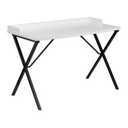 Flash Furniture - Flash Furniture White Computer Desk - This large surface writing desk will provide you enough space for your laptop and writing materials. The protective ledge border will permit papers from easily falling off the edge of the table. The simple design of this desk allows it to easily fit into any work space.