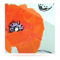 "Kess InHouse - Christen Treat ""Vintage Poppy"" Orange Flower Metal Luxe Panel (8"" x 8"") - Our luxe KESS InHouse art panels are the perfect addition to your super fab living room, dining room, bedroom or bathroom. Heck, we have customers that have them in their sunrooms. These items are the art equivalent to flat screens. They offer a bright splash of color in a sleek and elegant way. They are available in square and rectangle sizes. Comes with a shadow mount for an even sleeker finish. By infusing the dyes of the artwork directly onto specially coated metal panels, the artwork is extremely durable and will showcase the exceptional detail. Use them together to make large art installations or showcase them individually. Our KESS InHouse Art Panels will jump off your walls. We can't wait to see what our interior design savvy clients will come up with next."