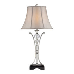 Quoizel - Quoizel CKML1481T Milano Table Lamp - The Milano table lamp is feminine and worldly.  The antique silver and glass accents featured on the base create a stunning effect and enhance the beauty of the design.  The tapered bell shade is tan and completes the look of this beautiful table lamp.