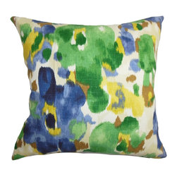 "The Pillow Collection - Delyne Floral Pillow Green Blue 18"" x 18"" - This accent pillow provides a garden-inspired look to your interiors. The square pillow features a floral pattern in pretty hues like blue, green, yellow, brown and white. This 18"" pillow makes your couch, bed or seat more comfortable with its 100% plush and soft cotton material. Decorate this contemporary pillow anywhere inside your home for an instant makeover. Hidden zipper closure for easy cover removal.  Knife edge finish on all four sides.  Reversible pillow with the same fabric on the back side.  Spot cleaning suggested."