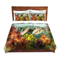DiaNoche Designs - Duvet Cover Microfiber by Anne Gifford - Fall Flatirons - DiaNoche Designs works with artists from around the world to bring unique, artistic products to decorate all aspects of your home.  Super lightweight and extremely soft Premium Microfiber Duvet Cover (only) in sizes Twin, Queen, King.  Shams NOT included.  This duvet is designed to wash upon arrival for maximum softness.   Each duvet starts by looming the fabric and cutting to the size ordered.  The Image is printed and your Duvet Cover is meticulously sewn together with ties in each corner and a hidden zip closure.  All in the USA!!  Poly microfiber top and underside.  Dye Sublimation printing permanently adheres the ink to the material for long life and durability.  Machine Washable cold with light detergent and dry on low.  Product may vary slightly from image.  Shams not included.