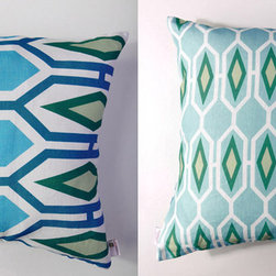 Kaypee Soh - Honeycomb Pillow - Emerald - Honeycomb - Add a splash of this pattern for a large-scale infusion of color and pattern. An architectural inspired design that pairs perfectly with our Pineapple and Palm patterns. 100% LinenHidden red zipper closureFeather/down hypoallergenic insertHandmade in USA�