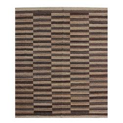 "ALRUG - Handmade Beige/Brown Oriental Kilim  8' 2"" x 9' 9"" (ft) - This Afghan Kilim design rug is hand-knotted with Wool on Wool."