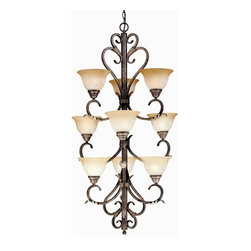 World Imports - World Imports Olympus Tradition 9-Light Chandelier, Crackled Bronze (2629-24) - World Imports 2629-24 Olympus Tradition 9 Light Chandelier, Crackled Bronze w/ Silver