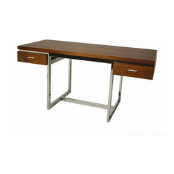 """Pastel Furniture - Pastel Furniture Dupont 62x28 Rectangular Office Desk in Walnut - The Dupont Desk with 28"""" x 62"""" rectangular wood top features two self closing drawers. Its clean-lined Chrome metal frame and Matte White or Walnut wood finish is a unique yet simple design perfect for any office space. The desk can be paired beautifully with any office chair."""