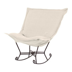 Howard Elliott - Sterling Scroll Puff Rocker - Mahogany Frame - The Sterling Puff Chair is a simple yet sophisticated piece. The fabric features a hopsack look with a crisp hand rich color.