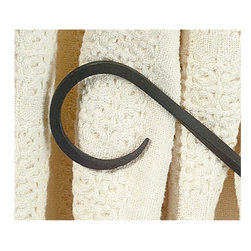 """Renovators Supply - Tie Backs Black Wrought Iron Curtain Tie Back 8 1/4"""" long - These wrought iron scroll curtain tiebacks are sold in pairs.  They are 8 1/4"""" long.  The outside diameter of the scroll is 3 1/4"""" and the inside diameter is 2 1/2"""".  They are protected by our exclusive Renovator's Supply finish so the wrought iron will not rust."""