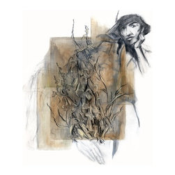 "Mixed Media Drawing, Botanical And Figure Ii, Original, Drawing - A mixed media drawing and painting of the figure with plants. This piece has several layers of drawings which give it a richness and depth.  This is a signed original fine art mixed media drawing by Washington state artist Kathleen Ney. A skillfully rendered art piece for your home decor, this piece would be wonderful in a grouping!  The paper size is 14"" x 17"", on archival substantial Canson bristol paper. The last photo shows it in a standard frame and mat. Will be shipped unframed in rigid cardboard packaging.  Please note: Colors may vary slightly due to photography and difference in monitors.  The copyright watermark shown here is not a part of the original art or prints. Purchase of original art does not transfer reproduction rights."