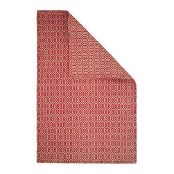 Hook & Loom Rug Company - Deerfield Red/Taupe Eco Cotton Rug - Very eco-friendly rug, hand-woven with yarns spun from 100% recycled fiber.  Color comes from the original textiles, so no dyes are used in the making of this rug.  Hand-bound edges instead of hems, so it is 100% reversible for twice the wear. Machine wash and tumble dry. Made in India.