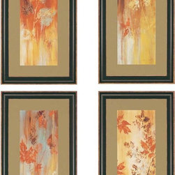 """Paragon Decor - Tranquil, Set of 4 Artwork - Brighten up those boring walls with this colorful set of 4, """"Tranquil"""" which contrasts passionate crimson, mustard yellows, and burnt sienna tones with subtle light blues and muted whites. These pieces can be hung vertically, horizontally, diagonally, or any other shape your heart desires! Each piece includes a tan matte and a simple dark frame. Each piece in this set measures 15 inches wide, 2 inches deep, and 27 inches high."""