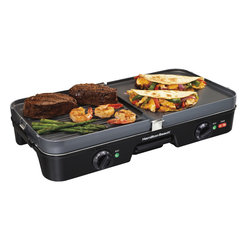 Hamilton Beach - Hamilton Beach 38546 3-in-1 Grill and Griddle - The double-sided grids of this Hamilton Beach 3-in-1 Grill and Griddle enable cooking as a grill, griddle or a grill/griddle combo. The two temperature gauges allow for easy cooking of two separate items with no need for an additional pan.