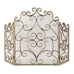 Uttermost - Kora Metal Fireplace Screen - Made of hand forged metal and mesh screen, this fireplace screen is finished in distressed maple wash with gold leaf undertones.