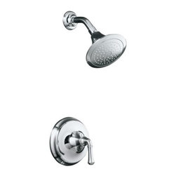 KOHLER - KOHLER K-T10276-4A-G Forte Rite-Temp Pressure-Balancing Shower Faucet Trim with - KOHLER K-T10276-4A-G Forte Rite-Temp Pressure-Balancing Shower Faucet Trim with Traditional Lever Handle in Brushed ChromeThis Forte shower trim offers outstanding performance, simplified installation, and ease of cleaning. With a custom-designed traditional lever handle and a variety of finish options, it tastefully complements classic and contemporary preferences in decor. Rite-Temp pressure-balancing technology prevents scalding and maintains your desired water temperature within +/-3 degrees F.KOHLER K-T10276-4A-G Forte Rite-Temp Pressure-Balancing Shower Faucet Trim with Traditional Lever Handle in Brushed Chrome, Features:• Premium material construction for durability and reliability