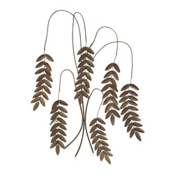 iMax - iMax Meyeul Champagne Leaf Wall Hanger X-57247 - Slender, willowy stems sprout wrought iron leaves in this elegant, nature-inspired wall sculpture.
