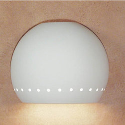 A-19 Lighting - St. Vincent Fluorescent Flush Downlight - Handmade in America, this fluorescent ceramic sconce emits an inviting glow.  Its unfinished bisque surface is beautiful in its natural state; however, you may easily paint it to more perfectly enhance your design scheme.   A-19 Lighting - 1603D-1PL13