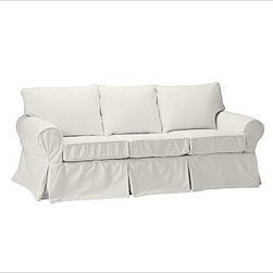 """PB Basic Slipcovered Sleeper Sofa, Polyester Wrap Cushions, Twill White - Our PB Basic Collection is crafted with the same attention to quality, detail and durability that's been the hallmark of American-made furniture for hundreds of years. The sleeper sofa has long been a relaxed, comfortable favorite. 83"""" w x 35"""" d x 35"""" h {{link path='pages/popups/PB-FG-Basic-3.html' class='popup' width='720' height='800'}}View the dimension diagram for more information{{/link}}. {{link path='pages/popups/PB-FG-Basic-6.html' class='popup' width='720' height='800'}}The fit & measuring guide should be read prior to placing your order{{/link}}. Polyester wrapped cushions provide a tailored and neat look. Proudly made in America, {{link path='/stylehouse/videos/videos/pbq_v36_rel.html?cm_sp=Video_PIP-_-PBQUALITY-_-SUTTER_STREET' class='popup' width='950' height='300'}}view video{{/link}}. For shipping and return information, click on the shipping info tab. When making your selection, see the Special Order fabrics below. {{link path='pages/popups/PB-FG-Basic-7.html' class='popup' width='720' height='800'}} Additional fabrics not shown below can be seen here{{/link}}. Please call 1.888.779.5176 to place your order for these additional fabrics."""