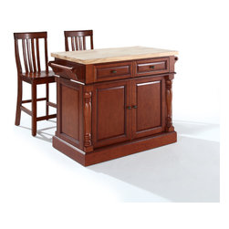 "Crosley - Butcher Block Top Kitchen Island in Black Finish with 24"" School House Stools - Dimensions: 23 x 48.2 x 36 inches"