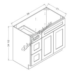 "RTA Hickory Walnut Bathroom Vanities V3621DL - Double Door Left Vanity - Hickory Walnut Bathroom Vanities V3621DL - Double Door Left Vanity Vanity Base: 36""Wx21""Dx34-1/2""H 1 door, 2 drawers left"