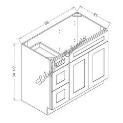 """RTA Hickory Walnut Bathroom Vanities V3621DL - Double Door Left Vanity - Hickory Walnut Bathroom Vanities V3621DL - Double Door Left Vanity Vanity Base: 36""""Wx21""""Dx34-1/2""""H 1 door, 2 drawers left"""