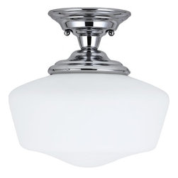 Sea Gull Lighting - Sea Gull Lighting 77437BLE Fluorescent Academy One Light Medium Semi-Flush Mount - The Academy Collection of bathroom fixtures reinterpret the classic utilitarian schoolhouse fixture with contemporary materials and design.Features:
