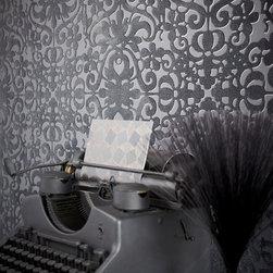 Luz - A modern decor idea with a designer wallpaper in aposh black palette. Contemporary ironwork with plush velvet details