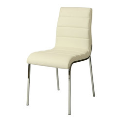 Pastel Furniture - Pastel Furniture Fort James Side Chair X-879-HC-011-JF - The Fort James side chair exemplifies handsome proportions and bold design. With simple lines mixed with curves for comfort, this beautiful chair adds style and elegance to the dining experience. The chair is upholstered in Pu ivory or Pu Black with a chrome frame.