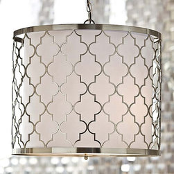 Regina Andrew Brushed Nickel Patterned Fixture - The Moroccan-style pattern in brushed silver is absolutely enchanting on this drum shade.