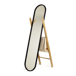 Umbra - Umbra Hub Floor Mirror - Our Hub floor mirror in black/natural by Umbra is a sleek and modern addition to any room. Prevents slipping while and solid beech-wood easel functions as a storage rack that is great for holding towels and clothing. Designed by Jordan Murphy for Umbra-the worldwide leader in innovative, modern, casual and affordable design for the home.