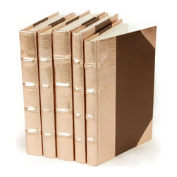 Metallic Collection Books - Rose Gold - Set of 5 - The warmth of a precious metal beloved by high-end art jewelers contributes to the sumptuous glow of these dramatic home accessories, the Metallic Collection of five books bound in Rose Gold.  Glossy spines are complemented by coordinating handmade paper covers, letting light caress the traditional shape of the heavy bindings.