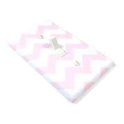 Modern Switch - Small Chevron Light Pink and White Light Switch Cover - This light switch cover is made when ordered please allow 1-2 weeks before shipping.