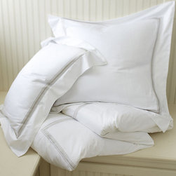 Ballard Designs - Amelie Embroidered Duvet Cover - Sandalwood King - Coordinates with our Amelie Sheets & Bath Collection. Layers well with all of our bedding collections.. Hidden button closure. Machine washable. The classic white bed accented with a fresh stripe of color. Our Amelie Duvet is sewn of 240-thread count cotton and finished in your choice of five embroidered border colors. Add a monogram to the shams for a custom look. Amelie Duvet features: .  .  .  *Monogramming available for an additional charge.*Allow 3 to 5 days for monogramming plus shipping time.*Please note that personalized items are non-returnable.