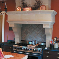 Tuscany Cast Stone Range Hood - The Tuscany range hood was manufactured by request of a customer who wanted to take the old world charm of their fireplace, and include it in the kitchen. This range hood adds style and grace to any kitchen. The Tuscany hood can be manufactured to meet your specific measurements.