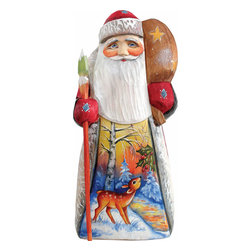 "Artistic Wood Carved Santa Claus with Grazing Deer Sculpture - Measures 6.25""H x 2.5""L x 1.5""W and weighs 1 lb. G. DeBrekht fine art traditional, vintage style sculpted figures are delightful and imaginative. Each figurine is artistically hand painted with detailed scenes including classic Christmas art, winter wonderlands and the true meaning of Christmas, nativity art. In the spirit of giving G. DeBrekht holiday decor makes beautiful collectible Christmas and holiday gifts to share with loved ones. Every G. DeBrekht holiday decoration is an original work of art sure to be cherished as a family tradition and treasured by future generations. Some items may have slight variations of the decoration on the decor due to the hand painted nature of the product. Decorating your home for Christmas is a special time for families. With G. DeBrekht holiday home decor and decorations you can choose your style and create a true holiday gallery of art for your family to enjoy. All Masterpiece and Signature Masterpiece woodcarvings are individually hand numbered. The old world classic art details on the freehand painted sculptures include animals, nature, winter scenes, Santa Claus, nativity and more inspired by an old Russian art technique using painting mediums of watercolor, acrylic and oil combinations in the G. Debrekht unique painting style. Linden wood, which is light in color is used to carve these masterpieces. The wood varies slightly in color."