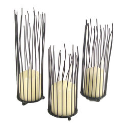 Danya B. - Willow Iron Candleholders, Set of 3 - Bring the beauty of an illuminated willow grove to your home with this set of three iron pillar candleholders. Crafted from iron and finished in rich black, the flicker of candlelight will further enhance this set's appeal.