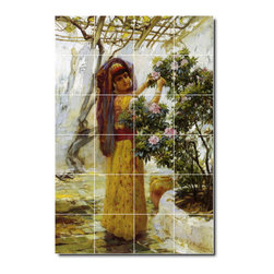 Picture-Tiles, LLC - In The Courtyard Tile Mural By Frederick Bridgman - * MURAL SIZE: 36x24 inch tile mural using (24) 6x6 ceramic tiles-satin finish.