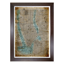 New York City Antique Map, Print - Art piece is float mounted with antique map edge.  Beautifully framed in solid brown wood frame with white matte background.