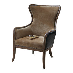 """Uttermost - Uttermost Snowden Tan Wing Chair - Snowden Tan Wing Chair by Uttermost Solid Wood Construction With Reinforced Joinery And Hand Rubbed, Weathered Pine Exposed Frame. Plush, Caramel Tan Velvet Is Accented By Solid Brass Nails And Surrounded In Deep Chocolate Faux Leather. Seat Height Is 18""""."""