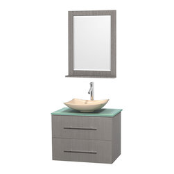 """Wyndham Collection - Centra 30"""" Grey Oak Single Vanity, Green Glass Top, Arista Ivory Marble Sink - Simplicity and elegance combine in the perfect lines of the Centra vanity by the Wyndham Collection. If cutting-edge contemporary design is your style then the Centra vanity is for you - modern, chic and built to last a lifetime. Available with green glass, pure white man-made stone, ivory marble or white carrera marble counters, with stunning vessel or undermount sink(s) and matching mirror(s). Featuring soft close door hinges, drawer glides, and meticulously finished with brushed chrome hardware. The attention to detail on this beautiful vanity is second to none."""