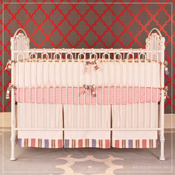 Venetian Heirloom Iron: Distressed White - Shown without the accompanying four posters, this luxury baby crib is an amazing design and unbeatable value.  This crib comes complete with four posters and a canopy kit, but can also be set up in the traditional style as you see her. To see all the versions, go to our website.  Shown in distressed white, with our luxury bedding.