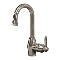 Pegasus - Newbury Single Bar Kitchen Faucet - FS1A5070B - Manufacturer SKU: FS1A5070BNV. Single post mount. Lever handle. 0.5 IPS inlets. 11.56 in. spout height. 7 in. aerator clearance. 5.19 in. spout reach. 1.5 in. maximum deck thickness. Brushed nickel color. Weight: 4.45 lbs.