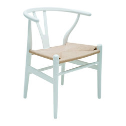 Nuevo Living - Alban Wishbone Dining in Chair in White by Nuevo - HGEM368 - This chair is by far the creme de le creme reproduction Wishbone chair on the market. Made from solid hardwood frame that is painted white this high-end and stands out from other reproductions. Add Scandinavian flair to your dining or living space with this simple yet elegant Alban Modern Chair. This chair is a very well known and popular chair designed in 1950 by Hans Wegner. The Wishbone chair as it is often called due to the shape of the back, is a light chair and a relatively small piece of furniture. The curved hind legs and the semicircular top rail together with the elegant Y-back endows the chair with a gracious and welcoming air. Made from bent hardwood frame and durable rattan woven seat cover, the Alban Chair in true is sure to wow for years to come.